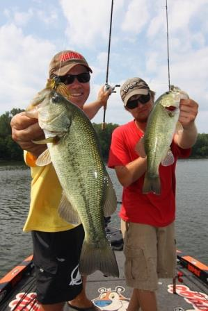 Anglers using lures for summertime bass fishing