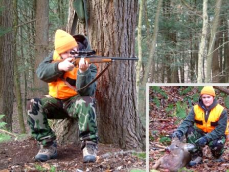 Young deer hunter shooting from a tree rest