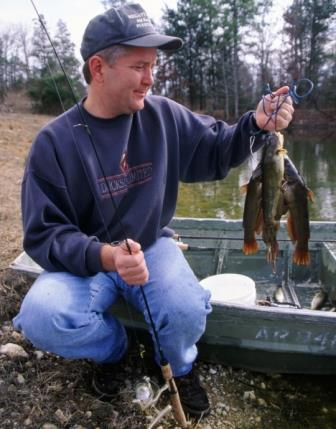 Angler with his bullhead catch of the day