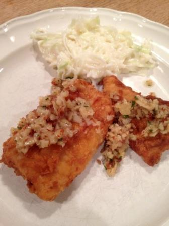 Almond topped panfish with homemade coleslaw