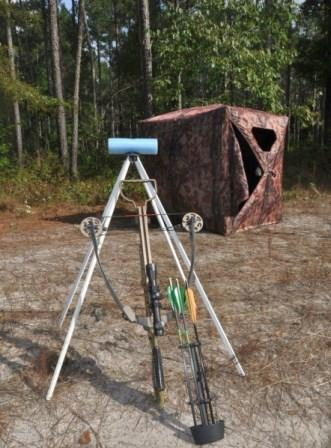 A homemade crossbow rest for ground blind hunting