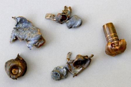 Different types of bullets showing different kinds of wear and tear from use