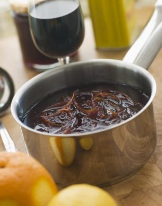 Cumberland sauce being prepared for a delicious venison steak diane