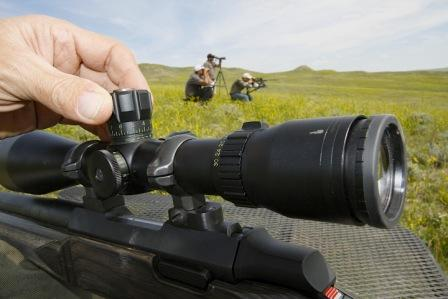 Varmint scopes for rifles have turret type wind and elevation adjustments. This one has a parallax adjustment on the left calibrated for yardage.