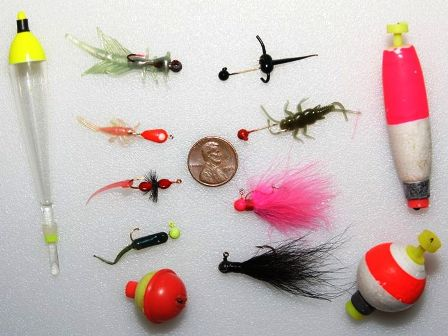 a selection of micro jigs and bobbers 448x336