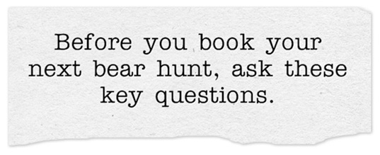 Before you book your next bear hunt ask these key questions