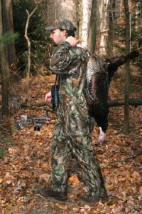 tracy breen with turkey killed with bow 299x448